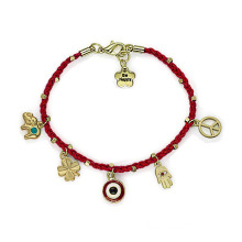 Weaved Bracelet With Tiny Pendant Evil Eye Hamsa Bracelet